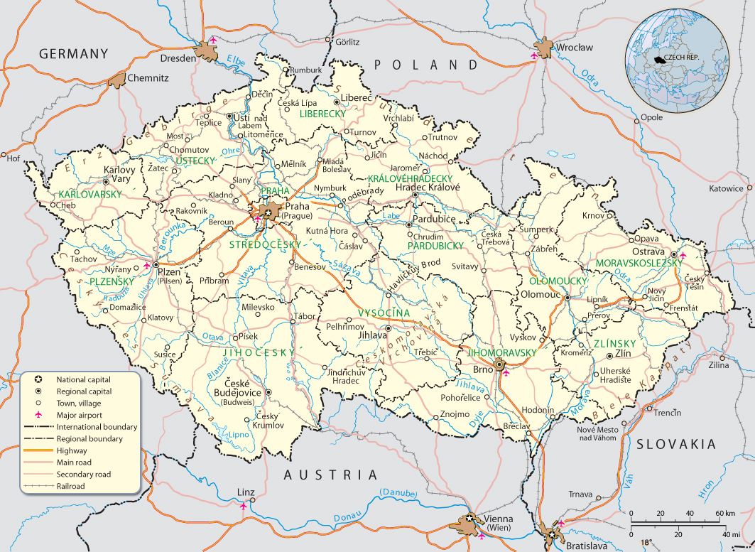 Map Czech Republic Travel Europe