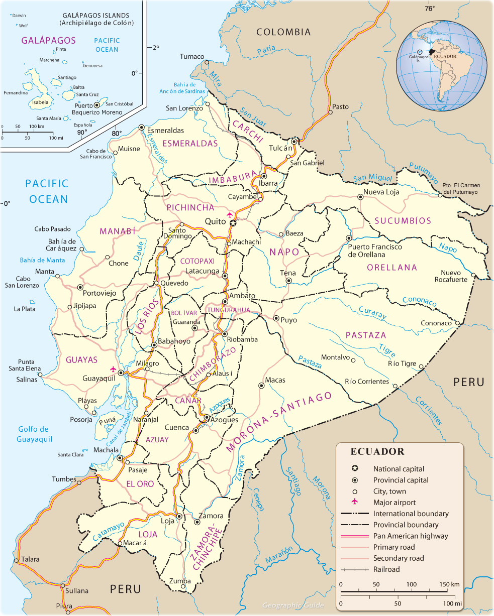 Map of Ecuador Quito