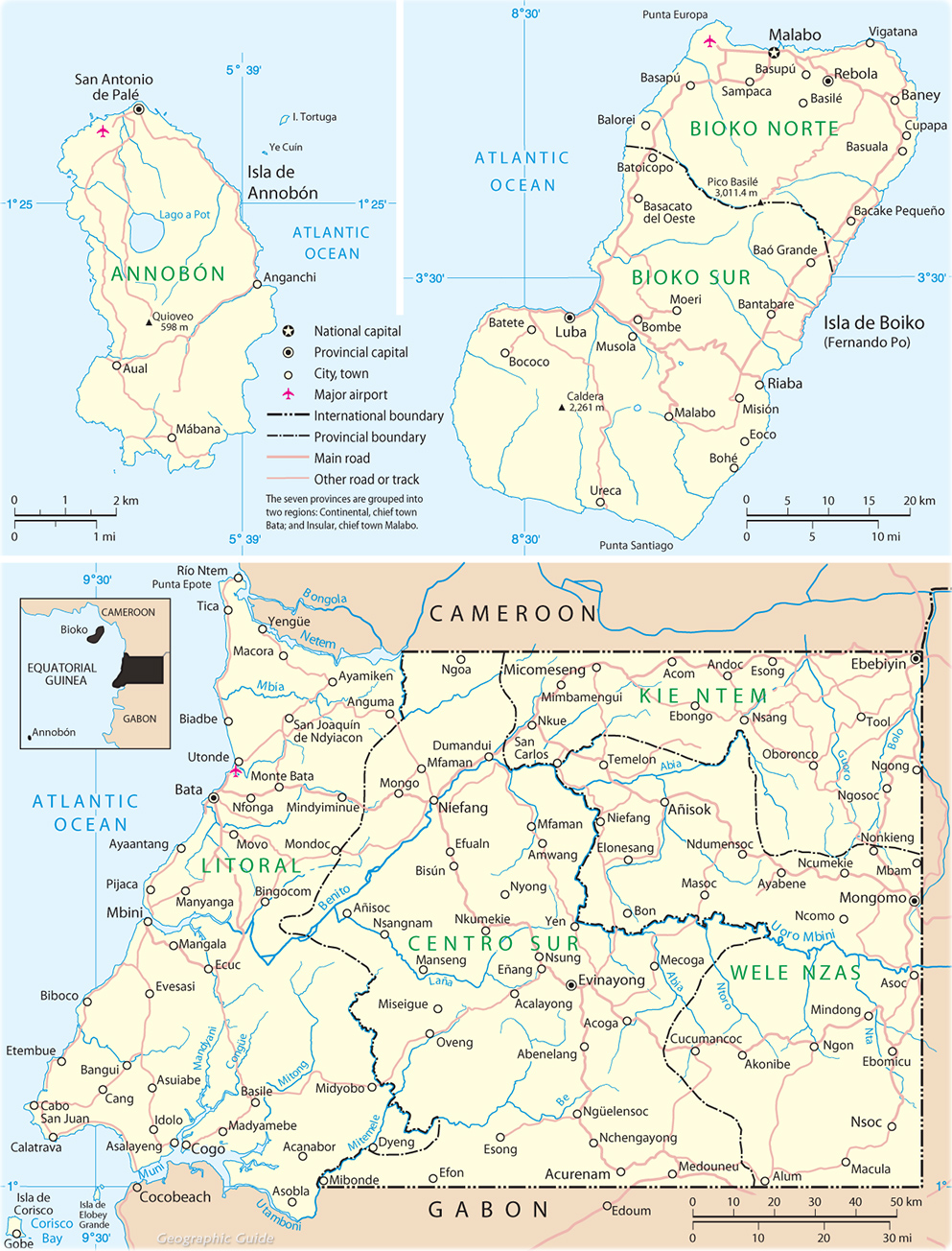 Map of Equatorial Guinea Travel Africa