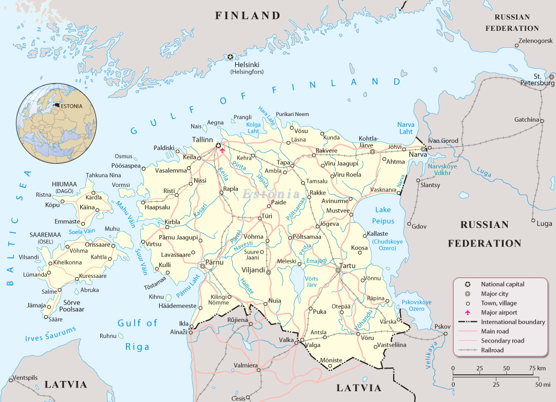 Map Estonia Travel Europe