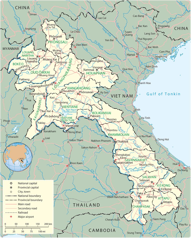 Map Laos Vientiane Asia