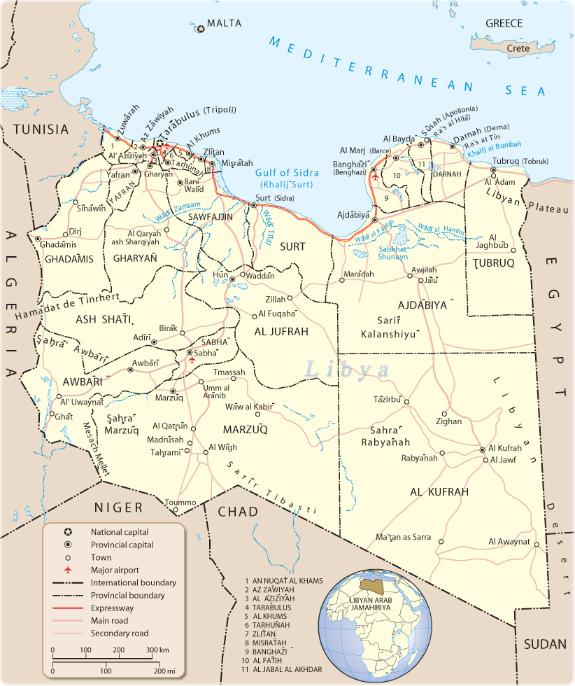 Map of Libya, Tripoli   Travel Africa