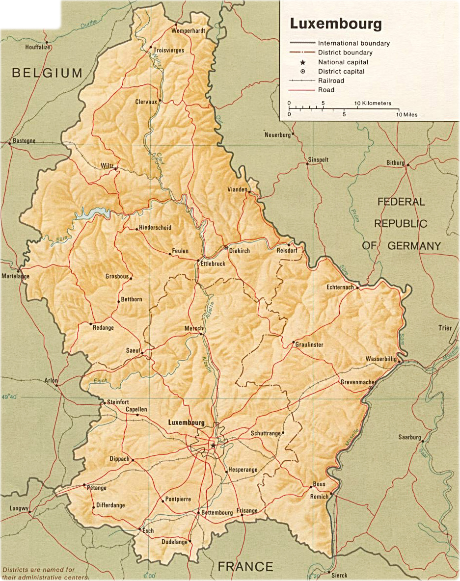 Map of Luxembourg Travel Europe