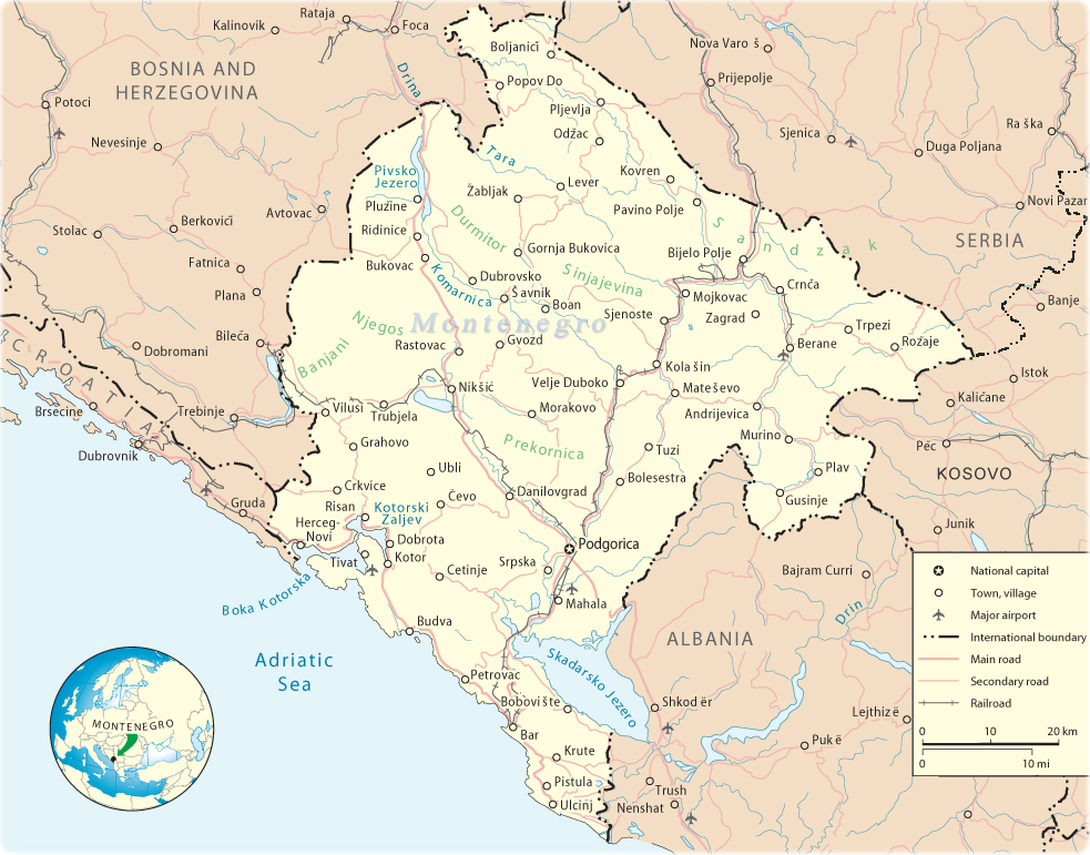 Map of Montenegro - Travel Europe Montenegro Travel Maps