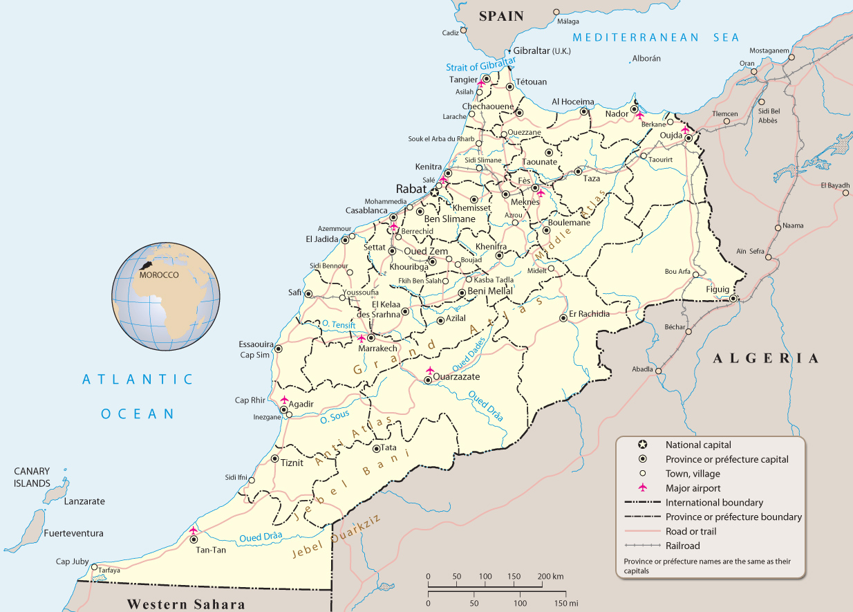 Map of Morocco Travel Africa