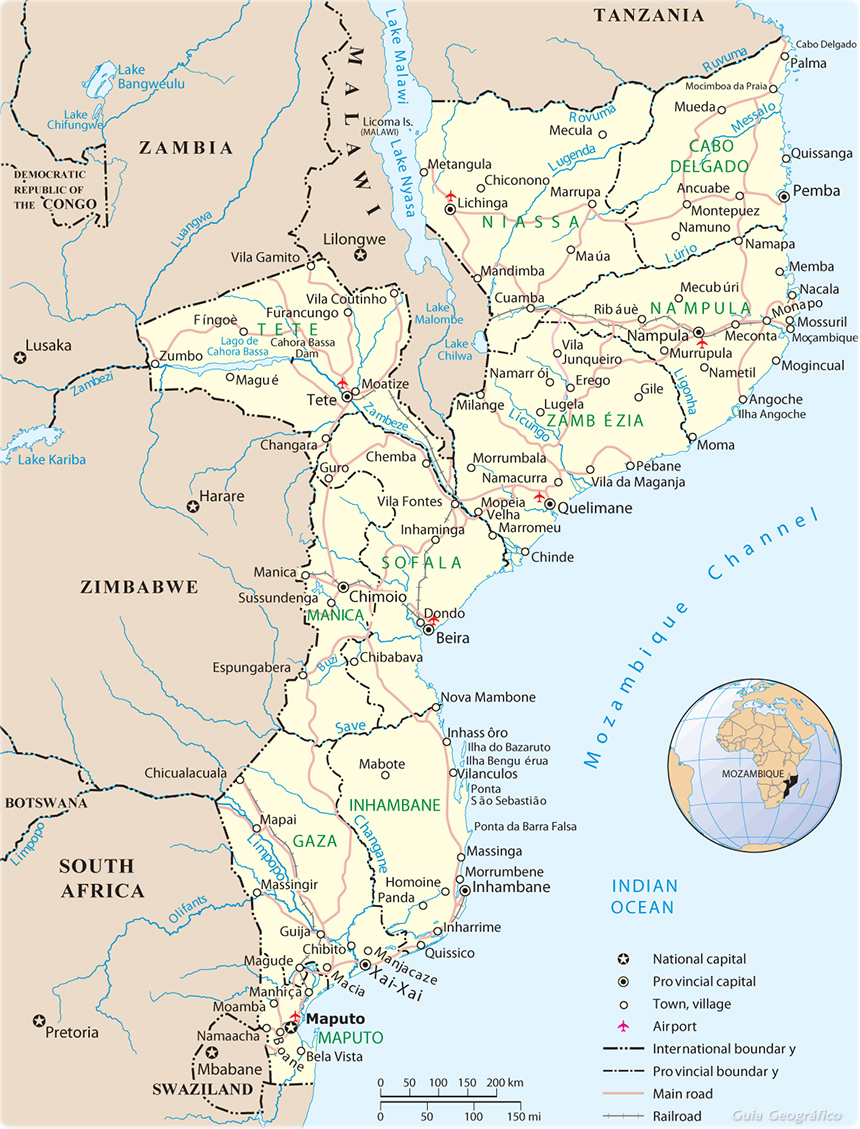 Map of Mozambique Travel Africa