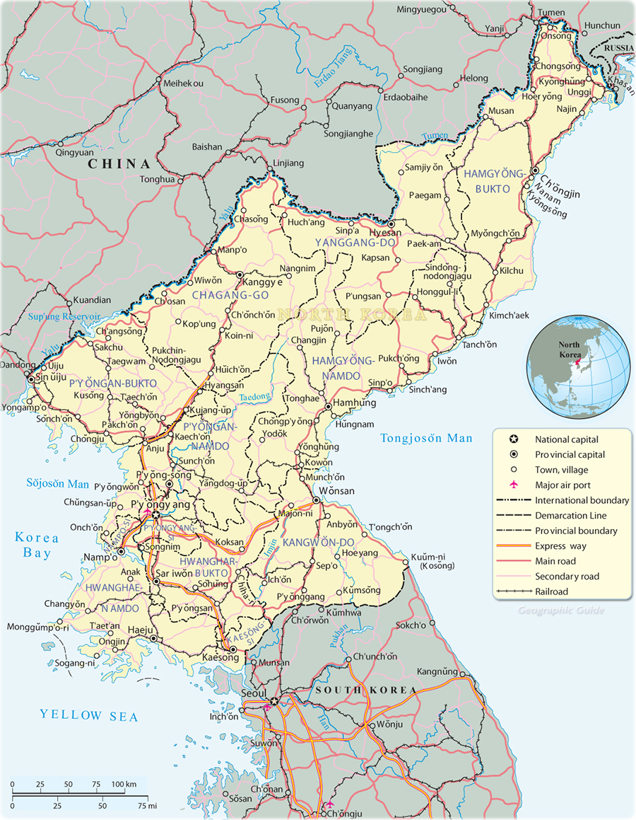North korea map pyongyang map north korea sciox Choice Image