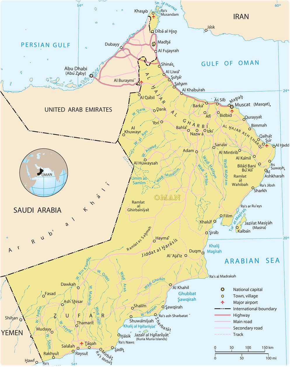 Karte Oman.Oman Kapital Karte