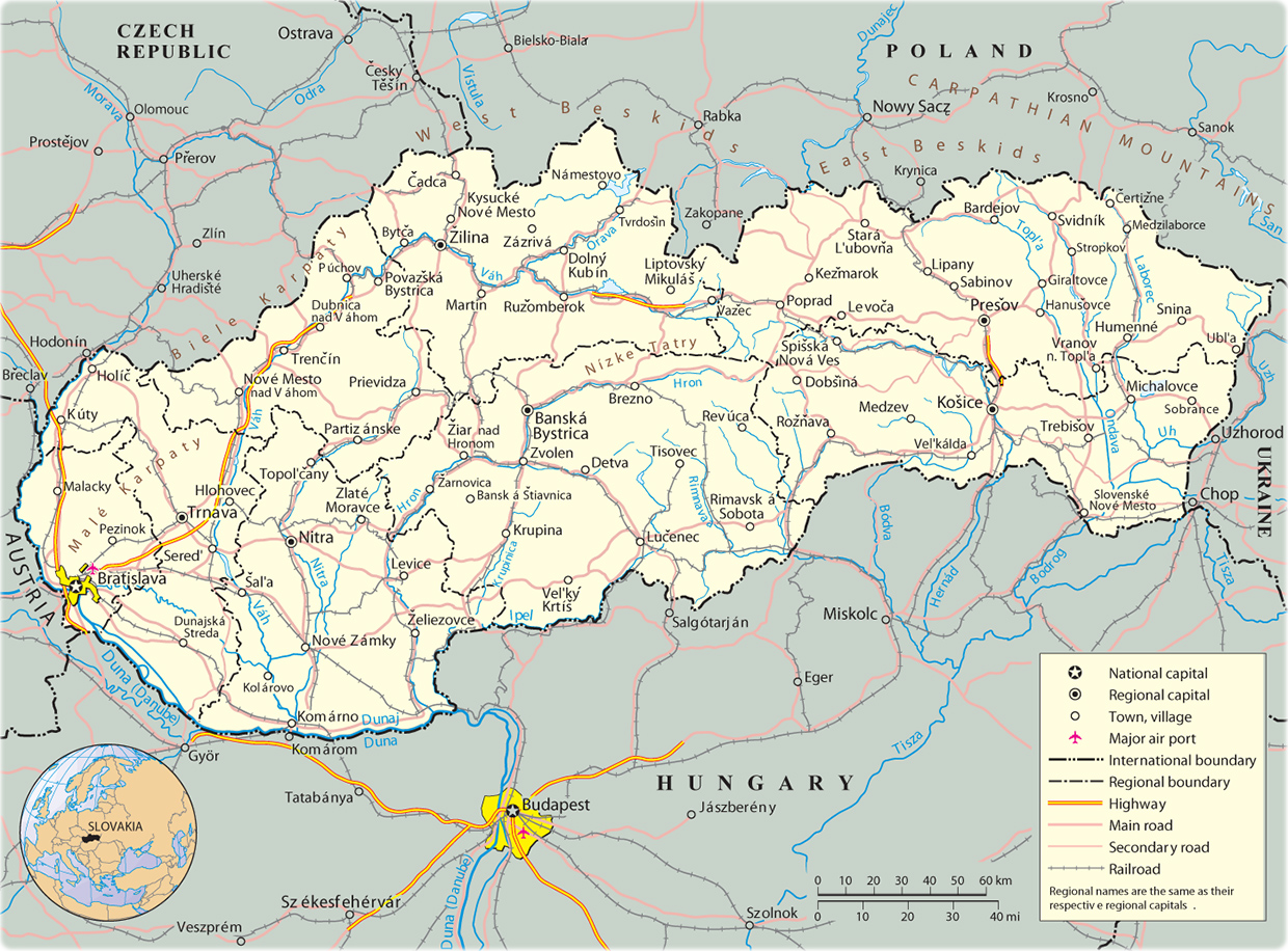 Map Slovakia Travel Europe