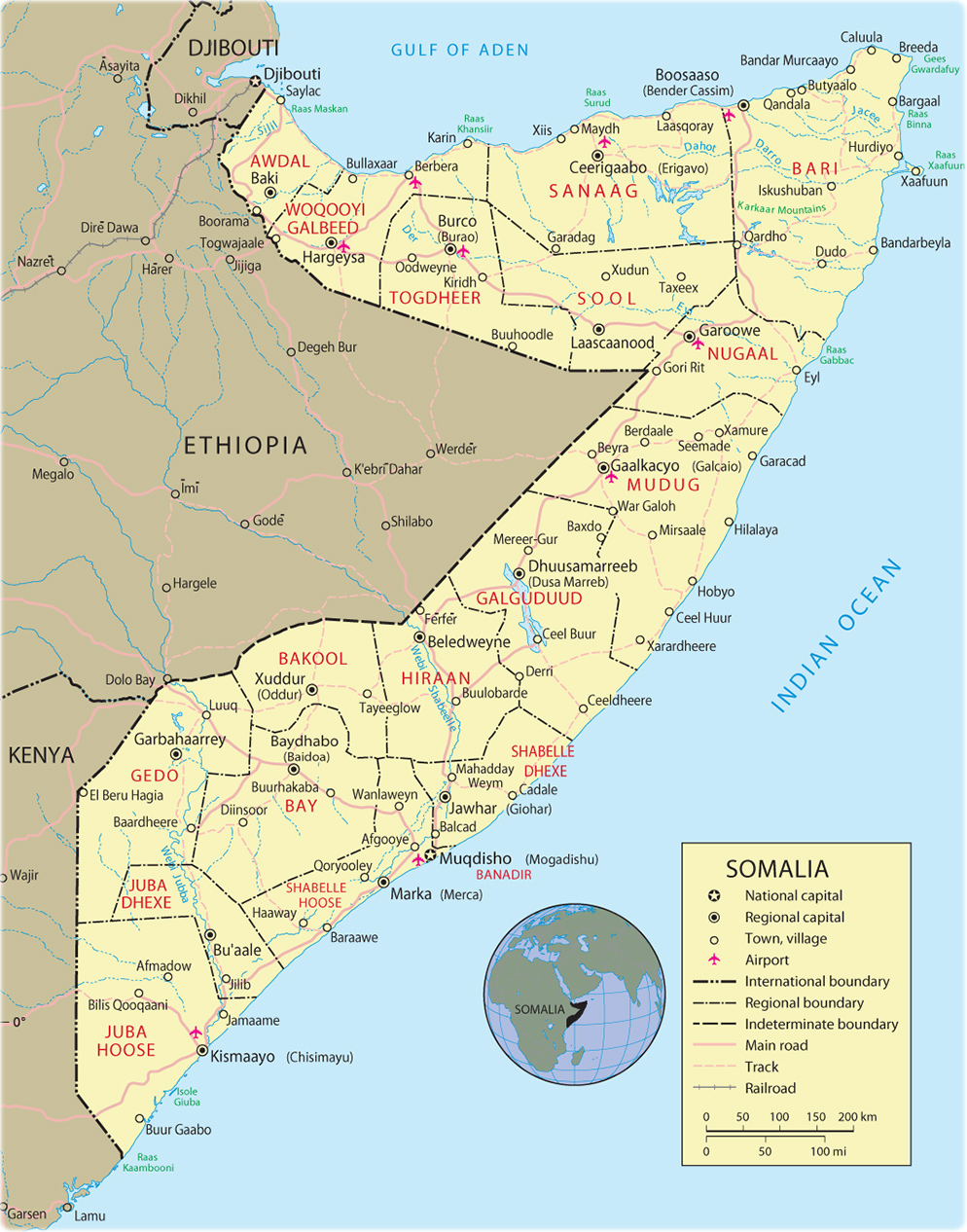 Map of Somalia Mogadishu Travel Africa
