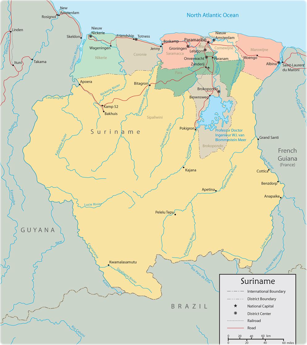 Map Of Suriname Paramaribo - paramaribo map