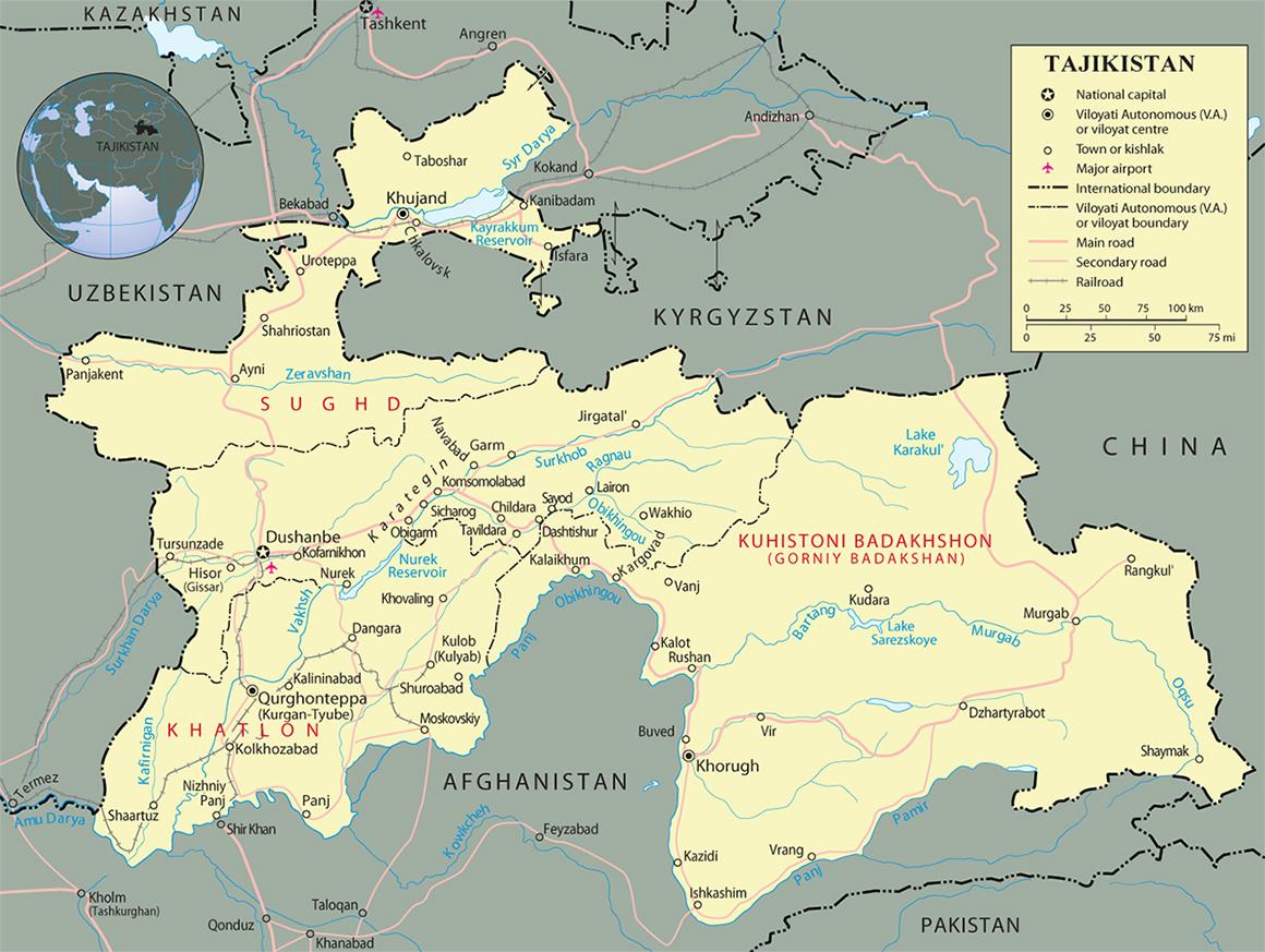 Tajikistan Map Dushanbe