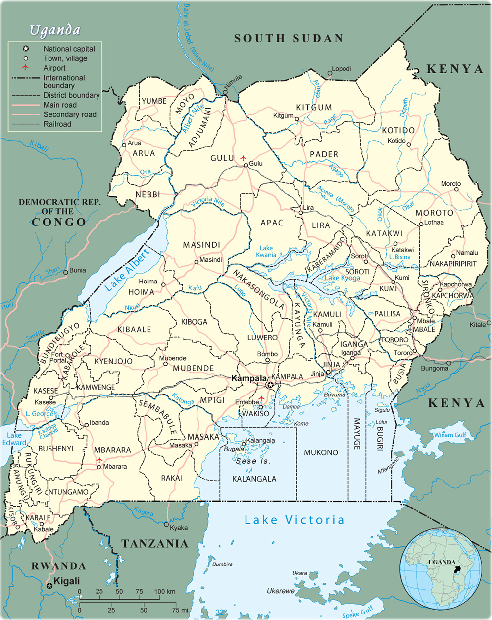 Map Of Uganda Campala Travel Africa - Map of uganda