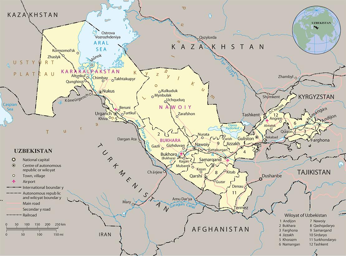 Usbekistan Kartenrand