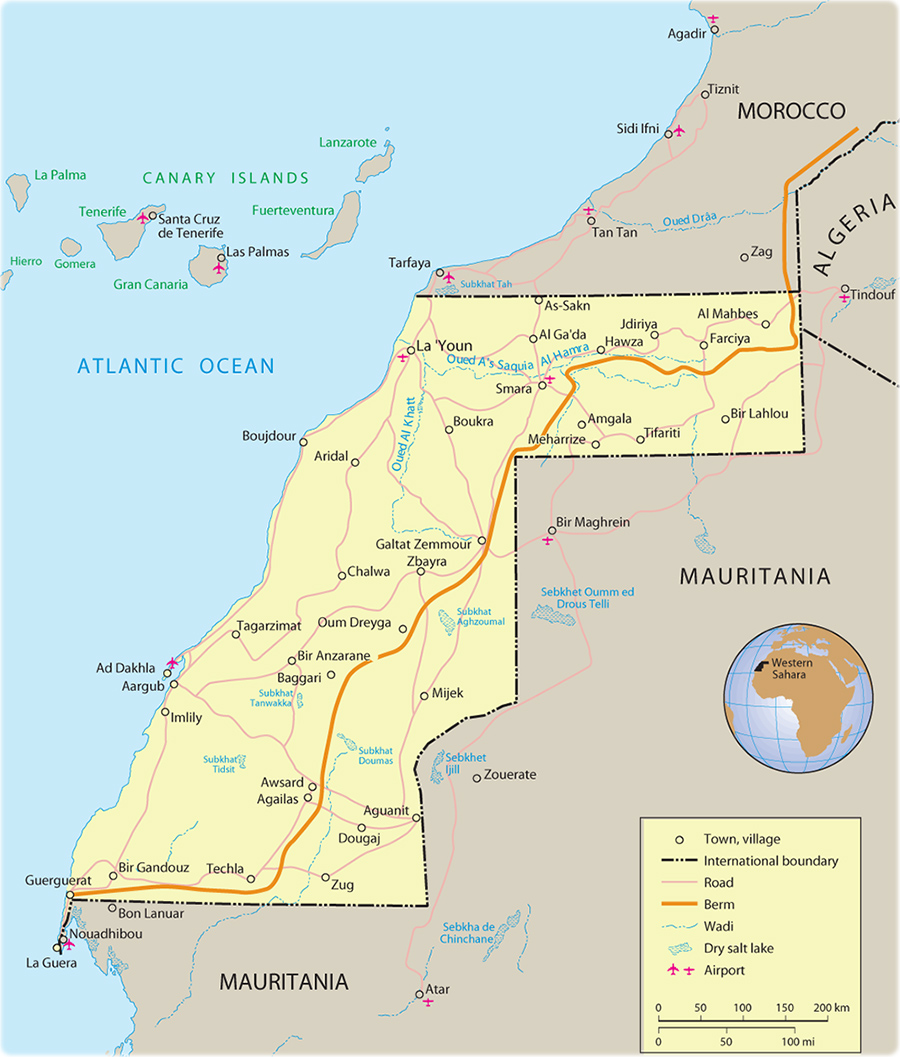 Map Of Western Sahara Travel Africa - Western sahara map