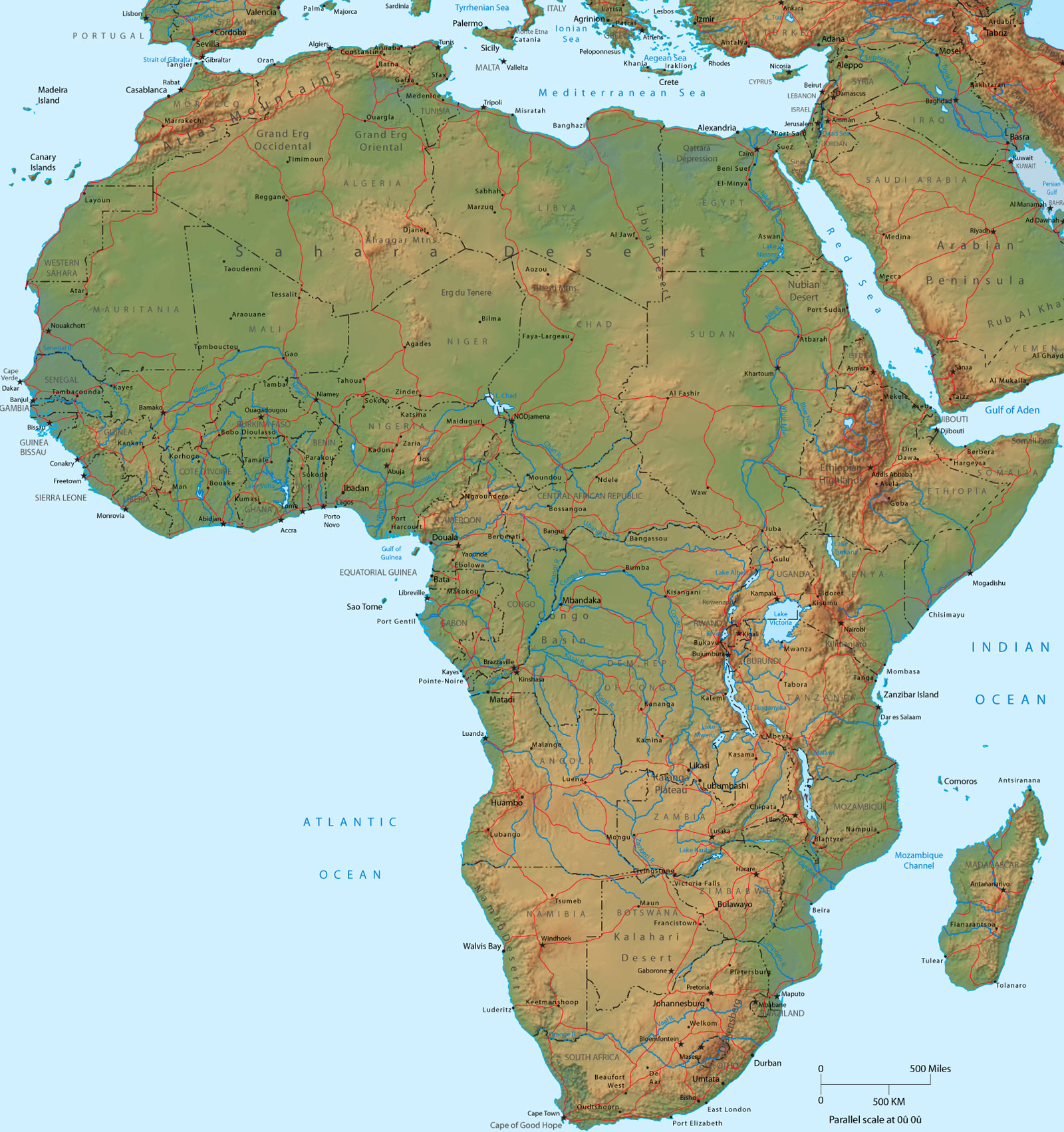 Africa, Physical Map   Travel