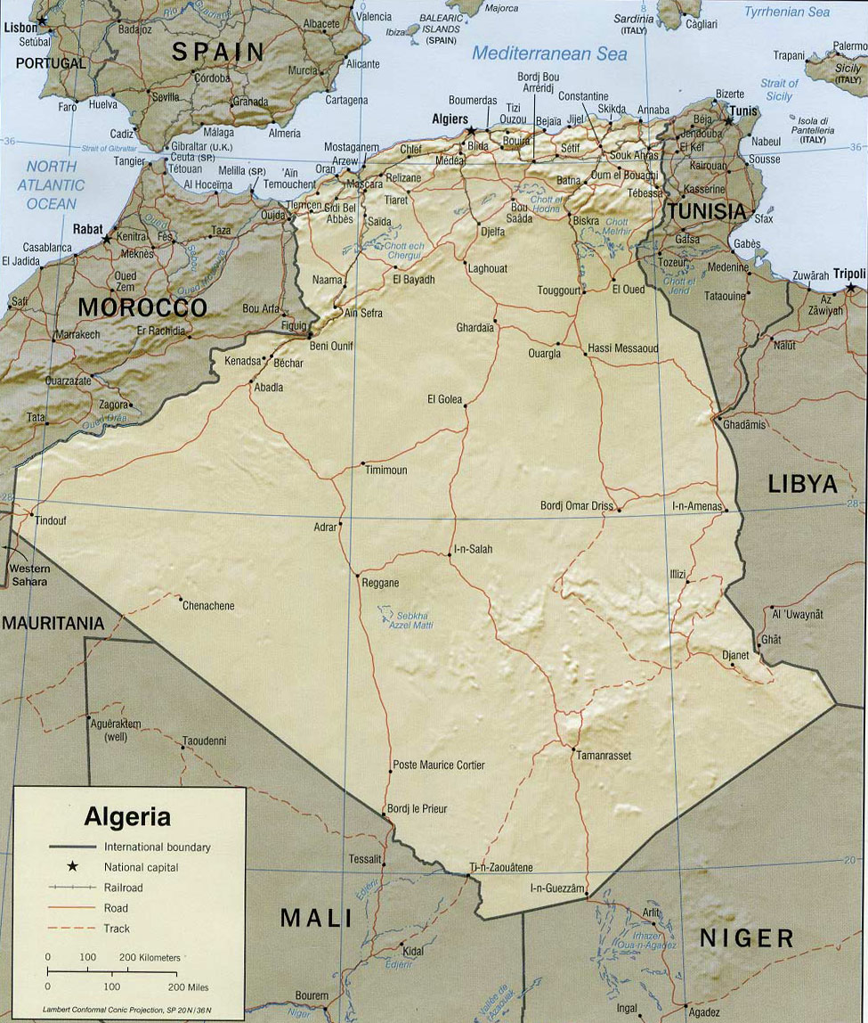 map of algeria  travel africa - map algeria