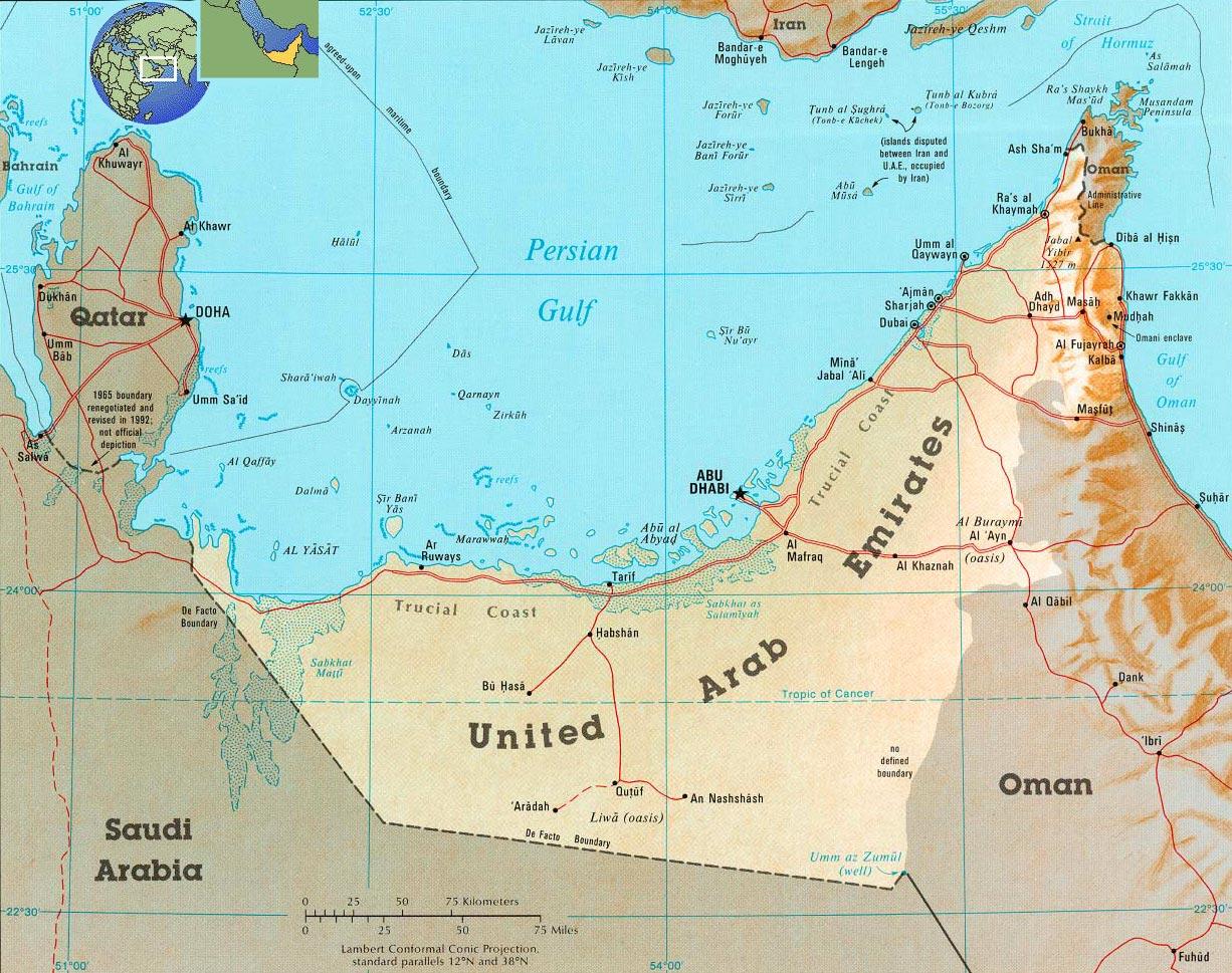 United Arab Emirates Map, Abu Dhabi - UAE