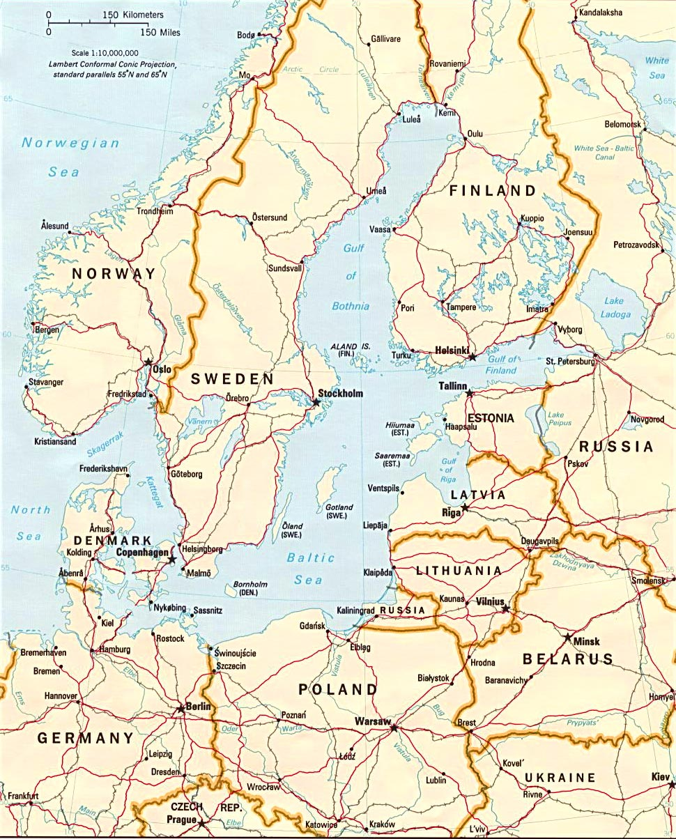 Baltic Sea Region Norway Sweden Denmark Travel Europe - Norway map detailed