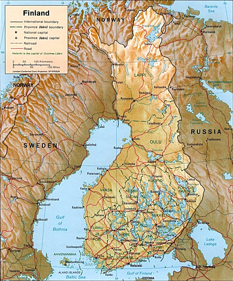 Map Finland Travel Europe