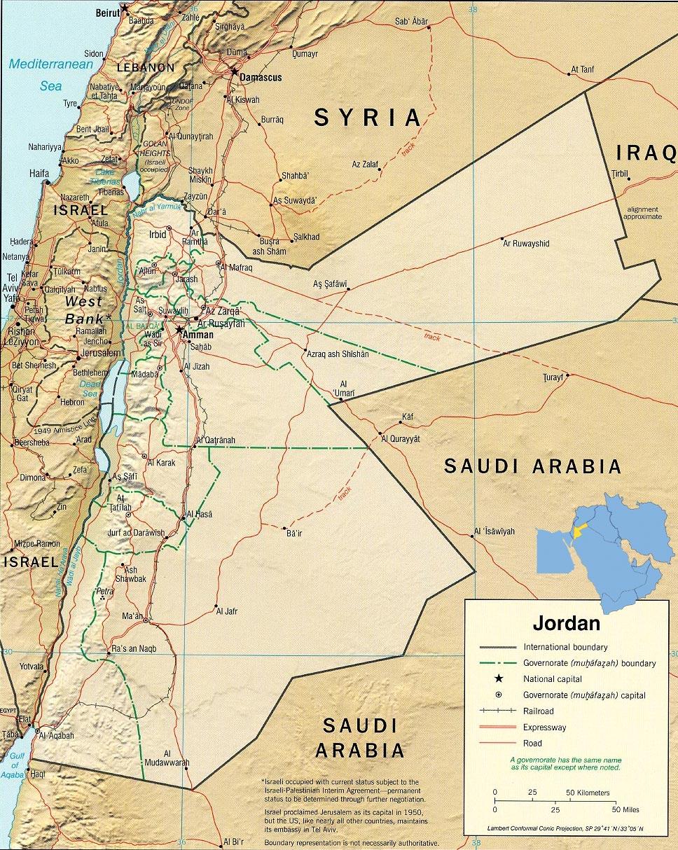 Jordan Map Amman Asia - Map of jordan