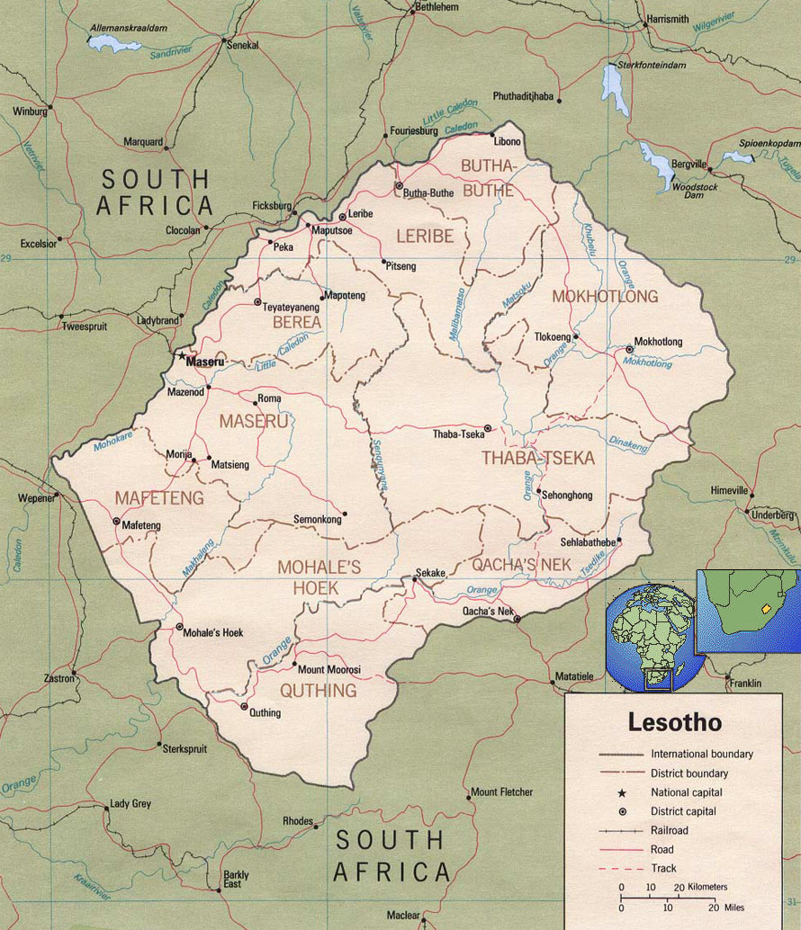 Map of Lesotho Travel Africa