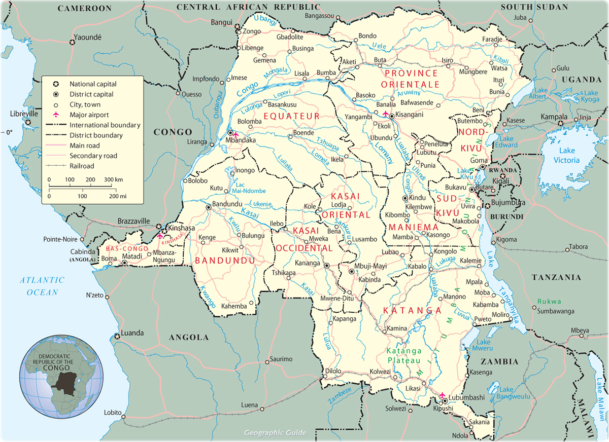 Congo Kinshasa Map Africa.Map Of Democratic Republic Of The Congo Travel Africa