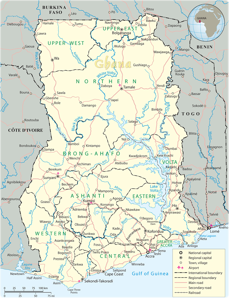 map of ghana  travel africa - map ghana
