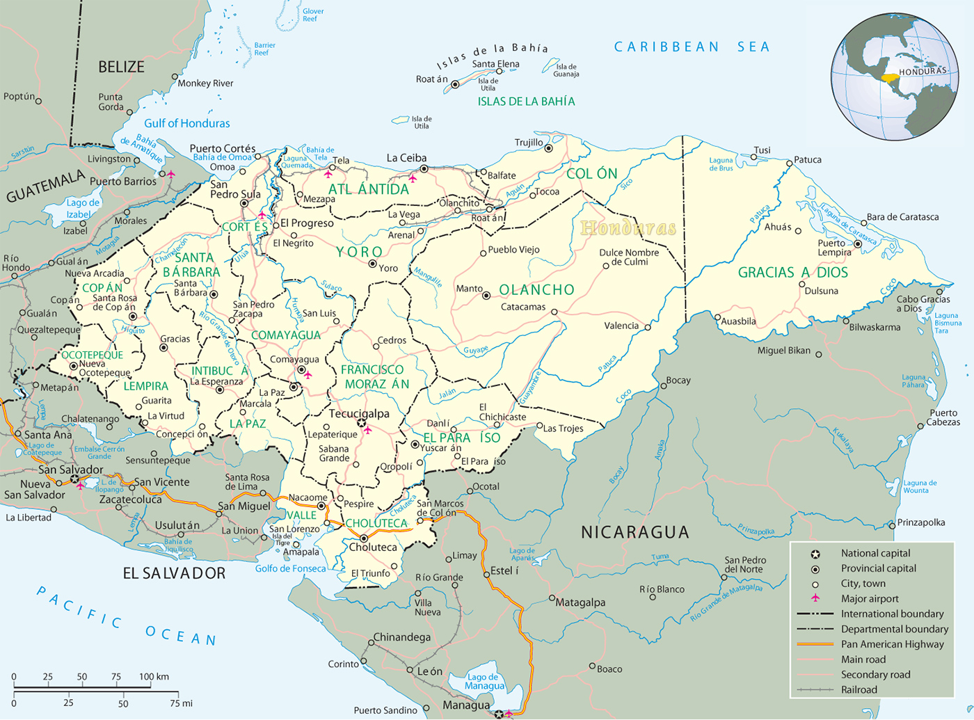 Map Of Honduras Tegucigalpa - Map of honduras