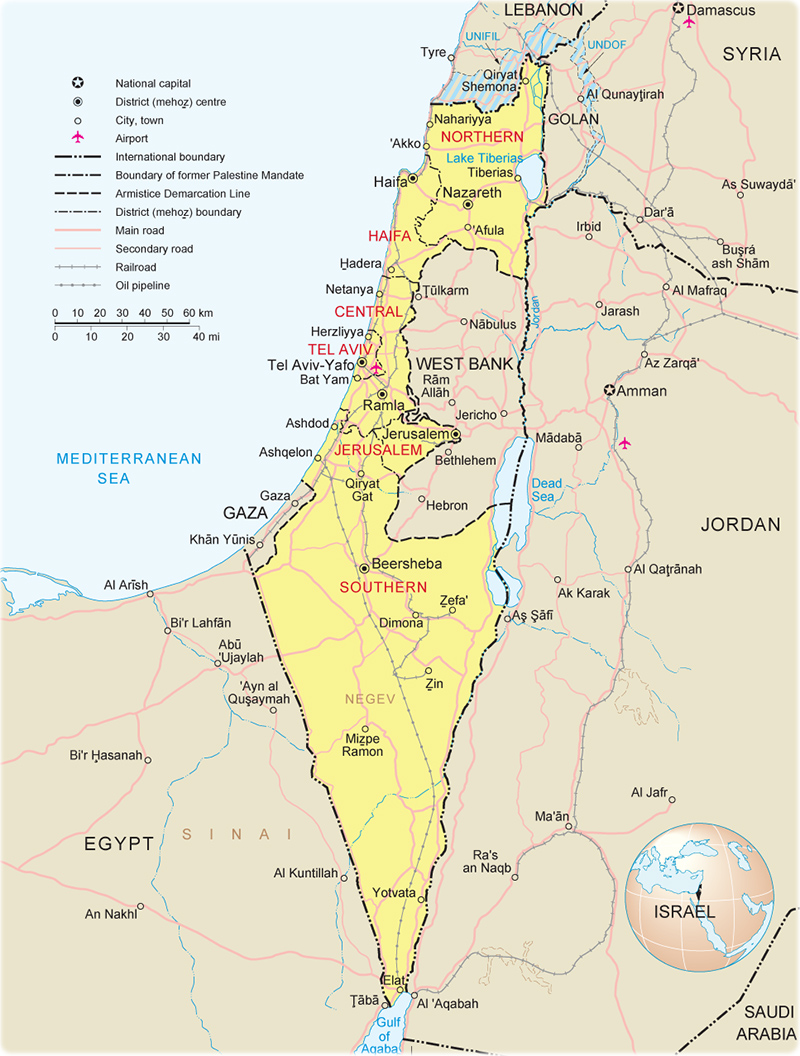 Israel Map Jerusalem Asia