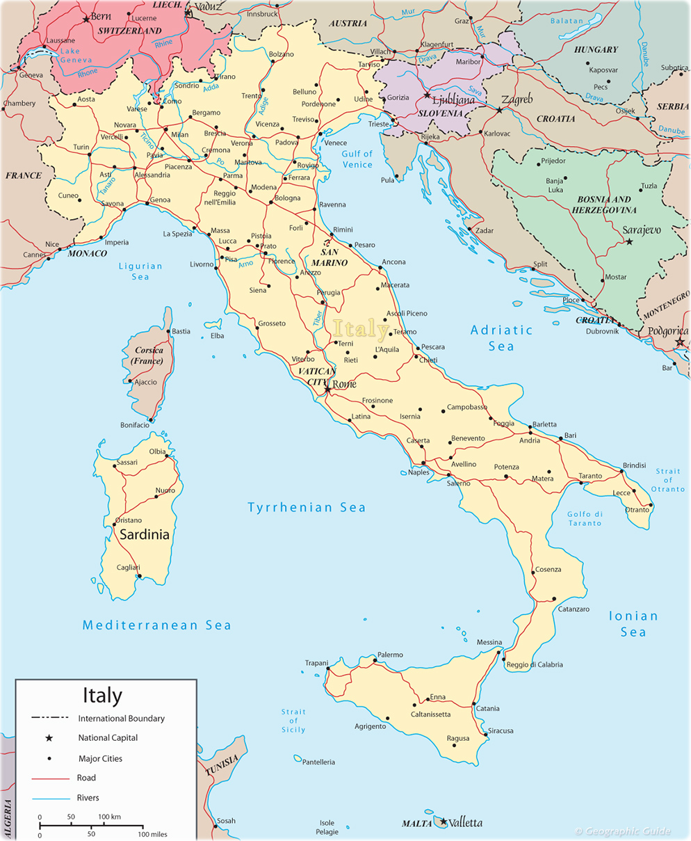 Italy Map Travel Europe