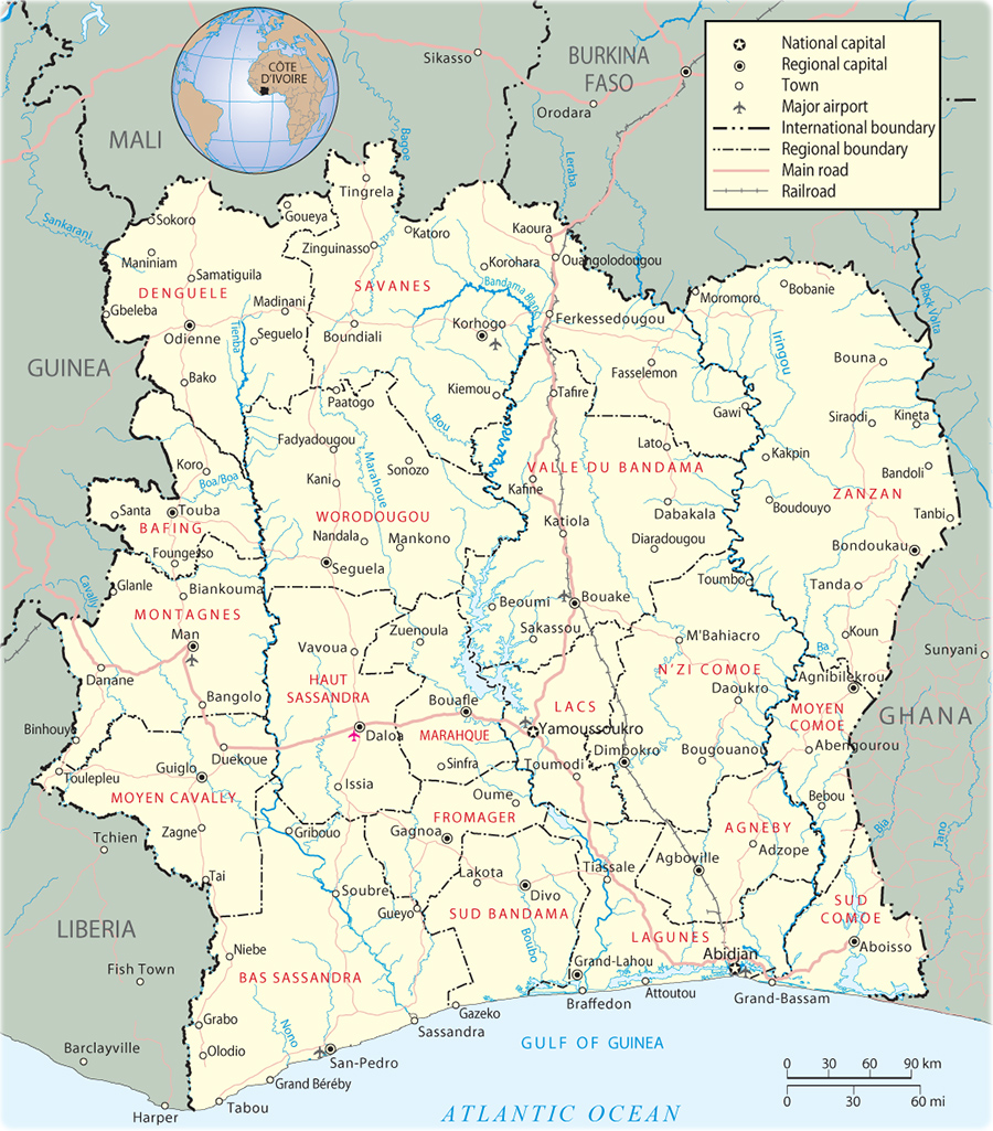Picture of: Map Of Cote D Ivoire Map Ivory Coast Travel Africa