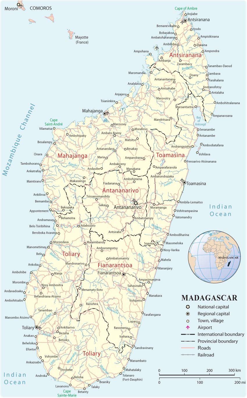 Map of Madagascar, Island   Travel Africa