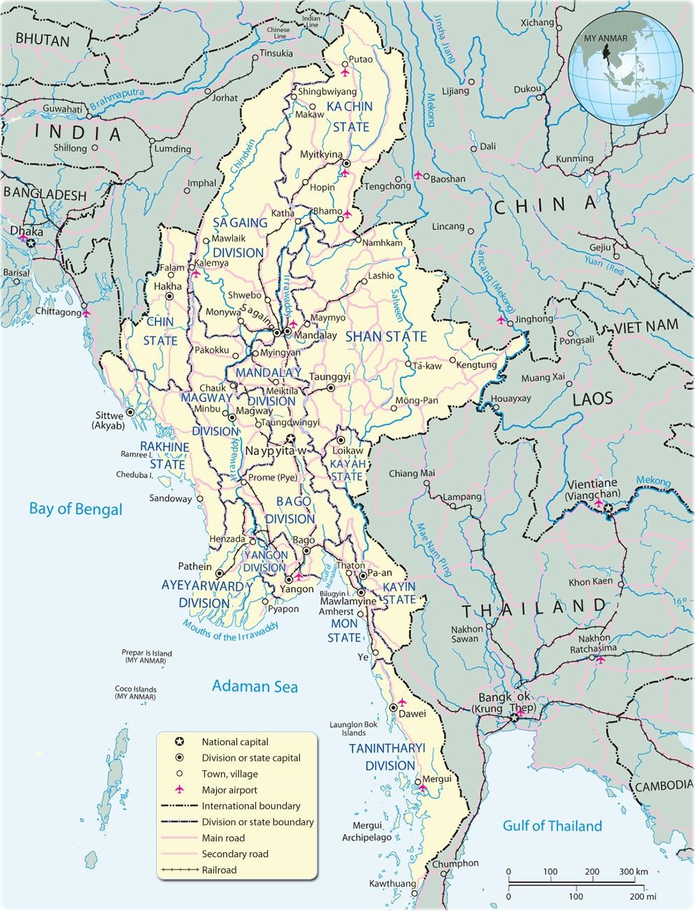Map of Myanmar Yangon Asia