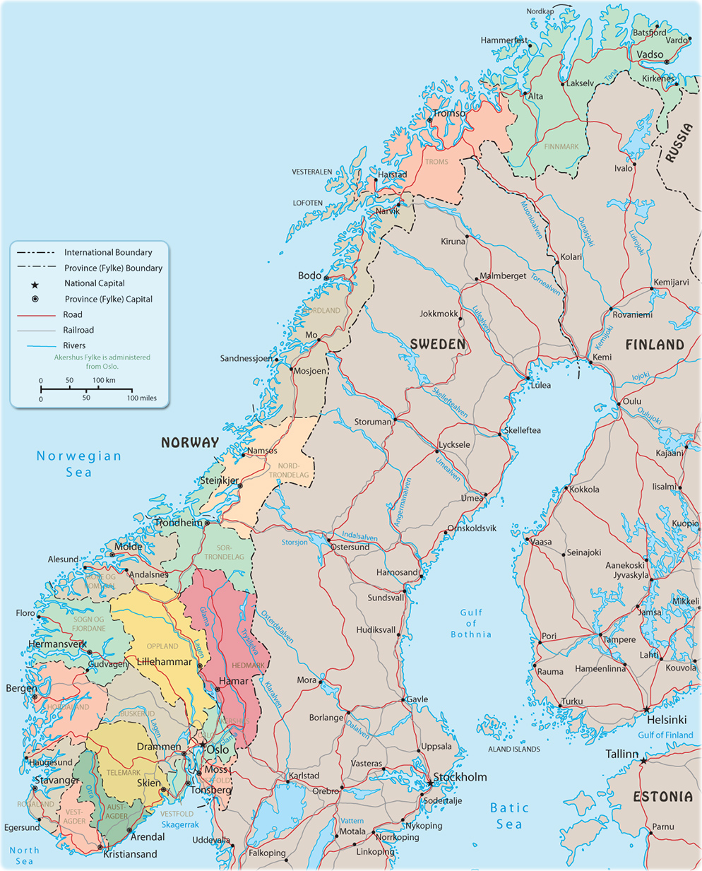 Map Norway Travel Europe