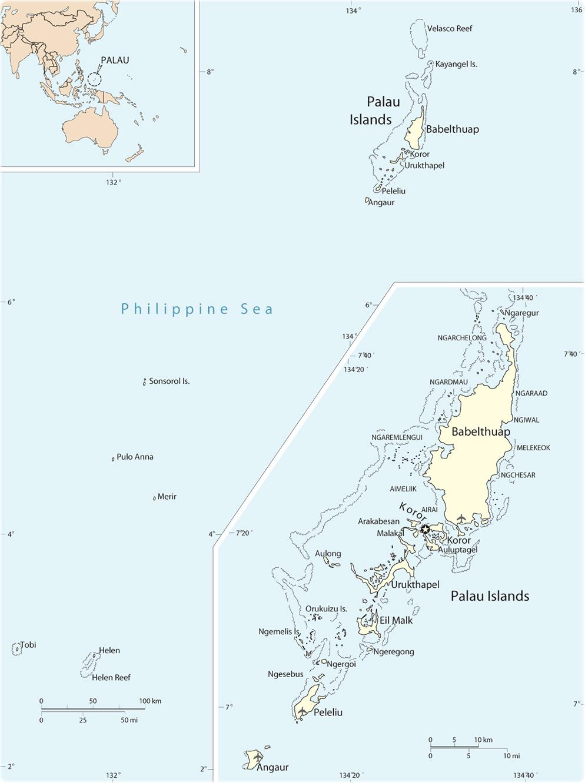 Map Palau Koror - Palau map