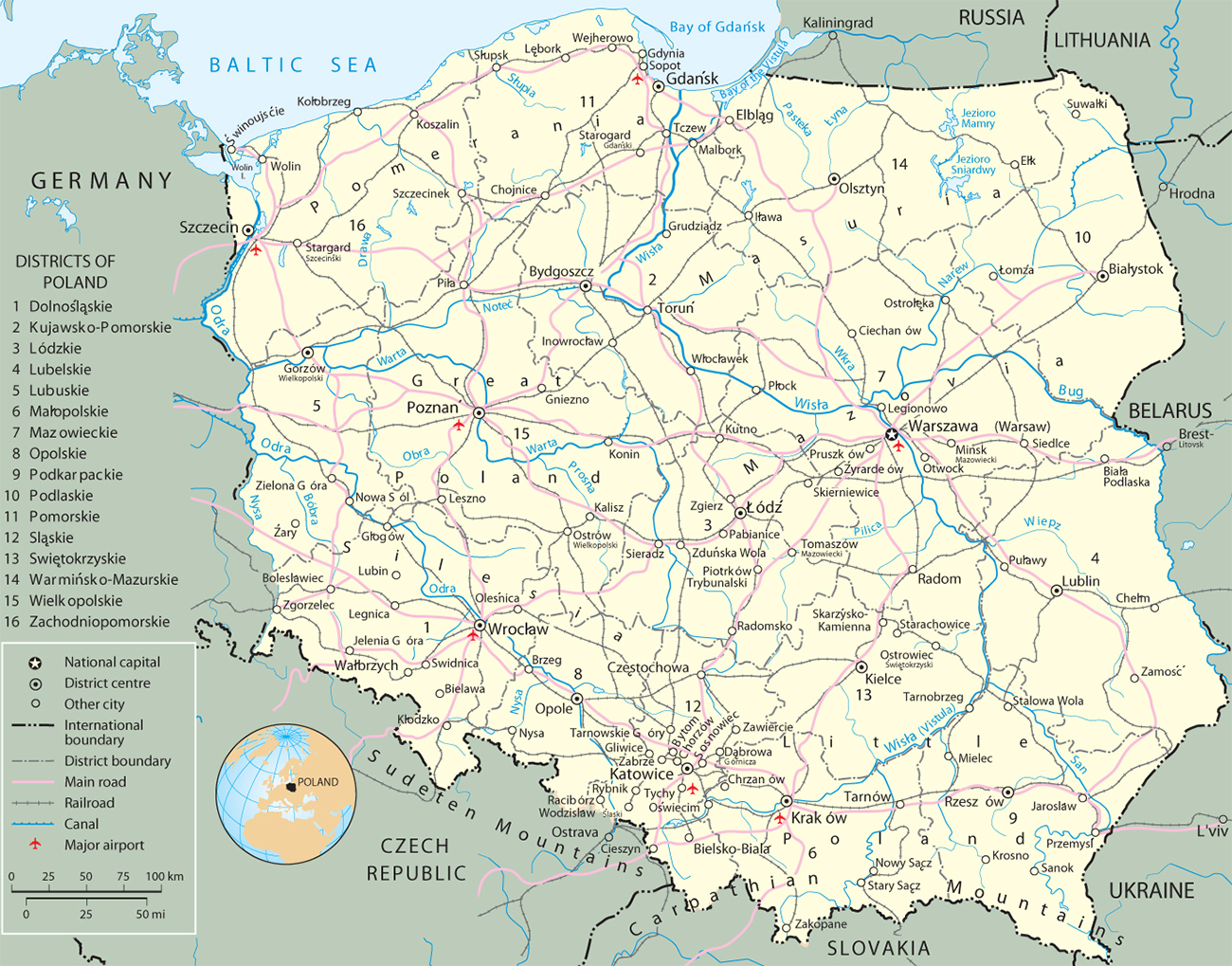 Capital Of Poland Map.Map Poland Travel Europe