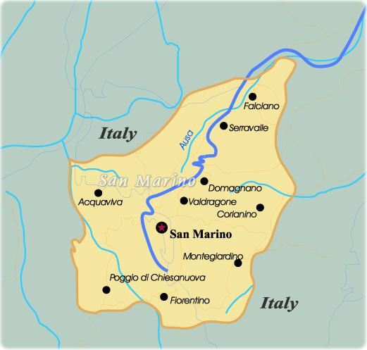 Map San Marino Travel Europe