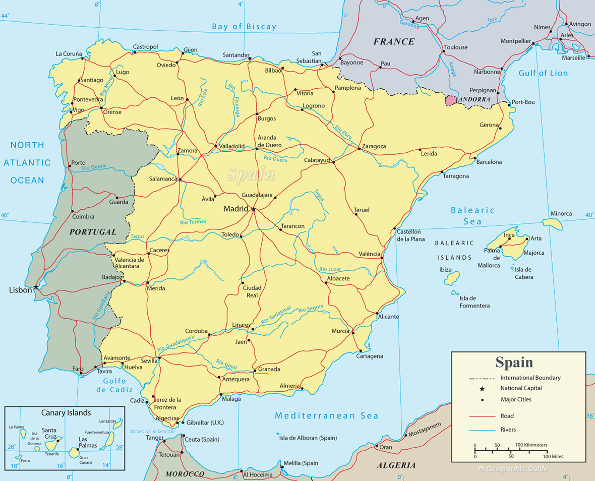 Map Of Spain Oceans.Spain Map Travel Europe