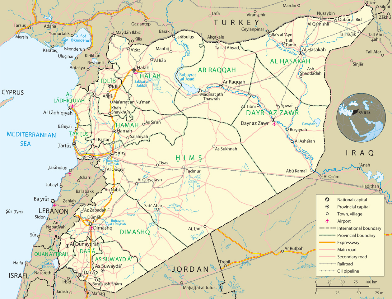 Syria Map, Damascus - Asia