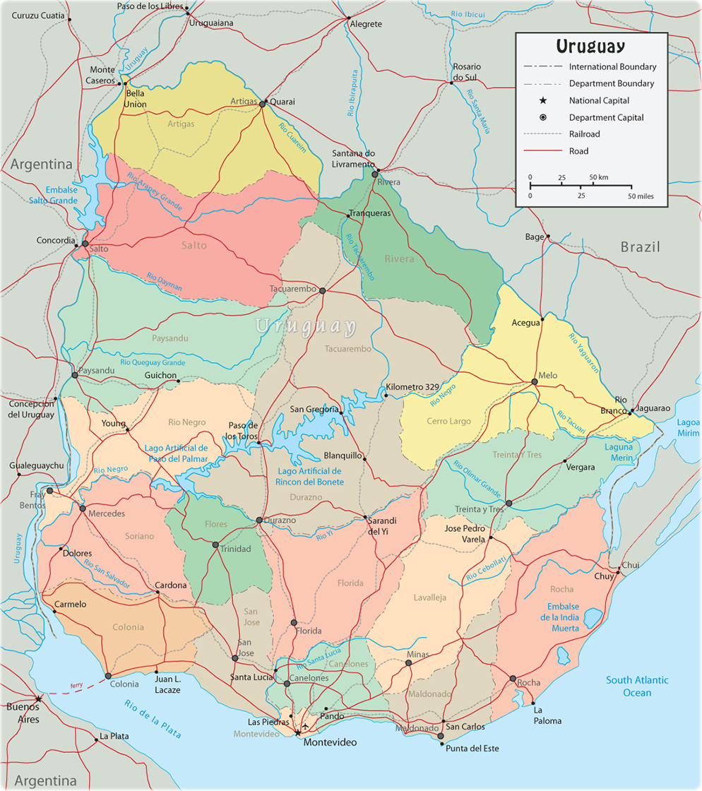 Map of Uruguay Montevideo