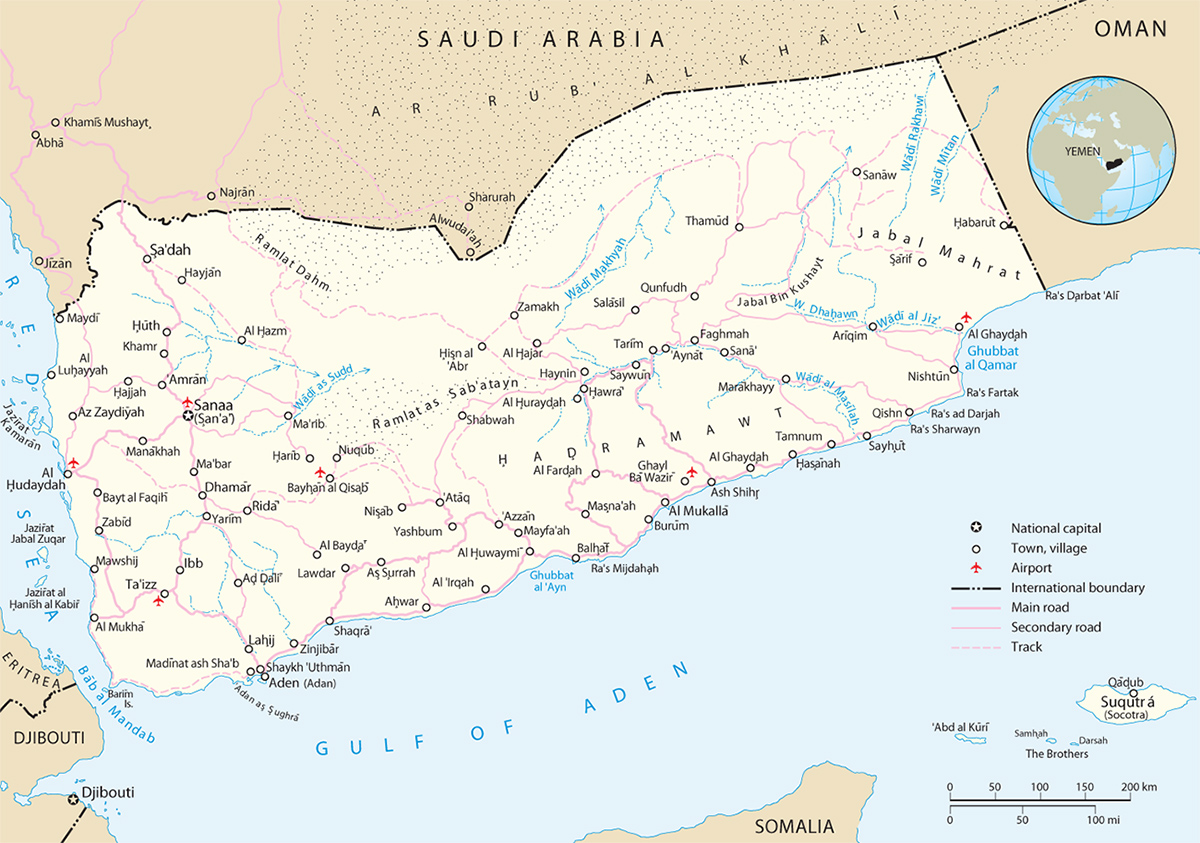 Yemen Map Sanaa Asia