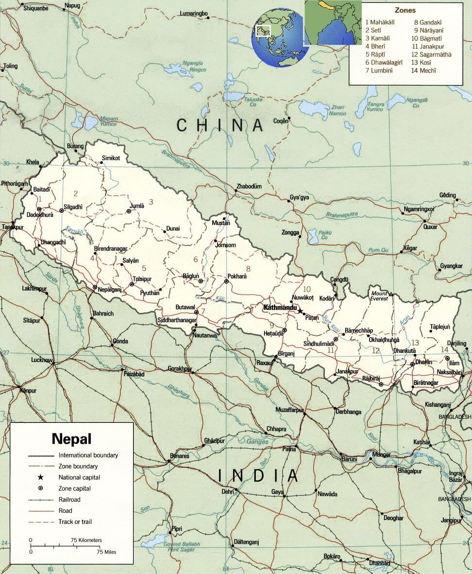 Nepal Map Kathmandu Everest