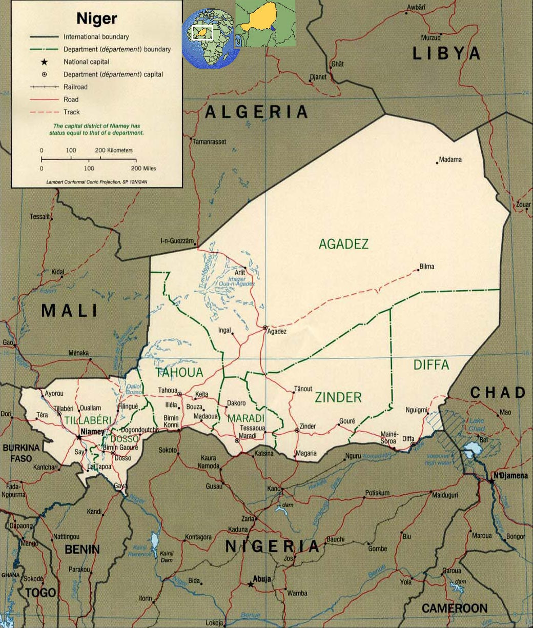 Map of Niger, Sahara - Travel Africa