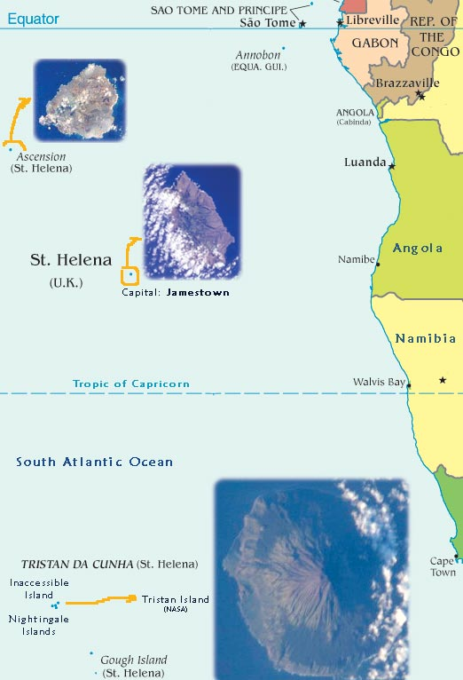 Map of Saint Helena Island United Kingdom Territory Travel