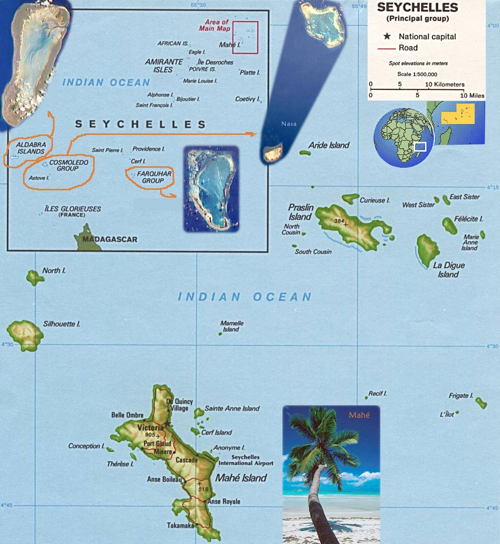 Map of Seychelles Islands - Travel Africa Seychelles Travel Maps