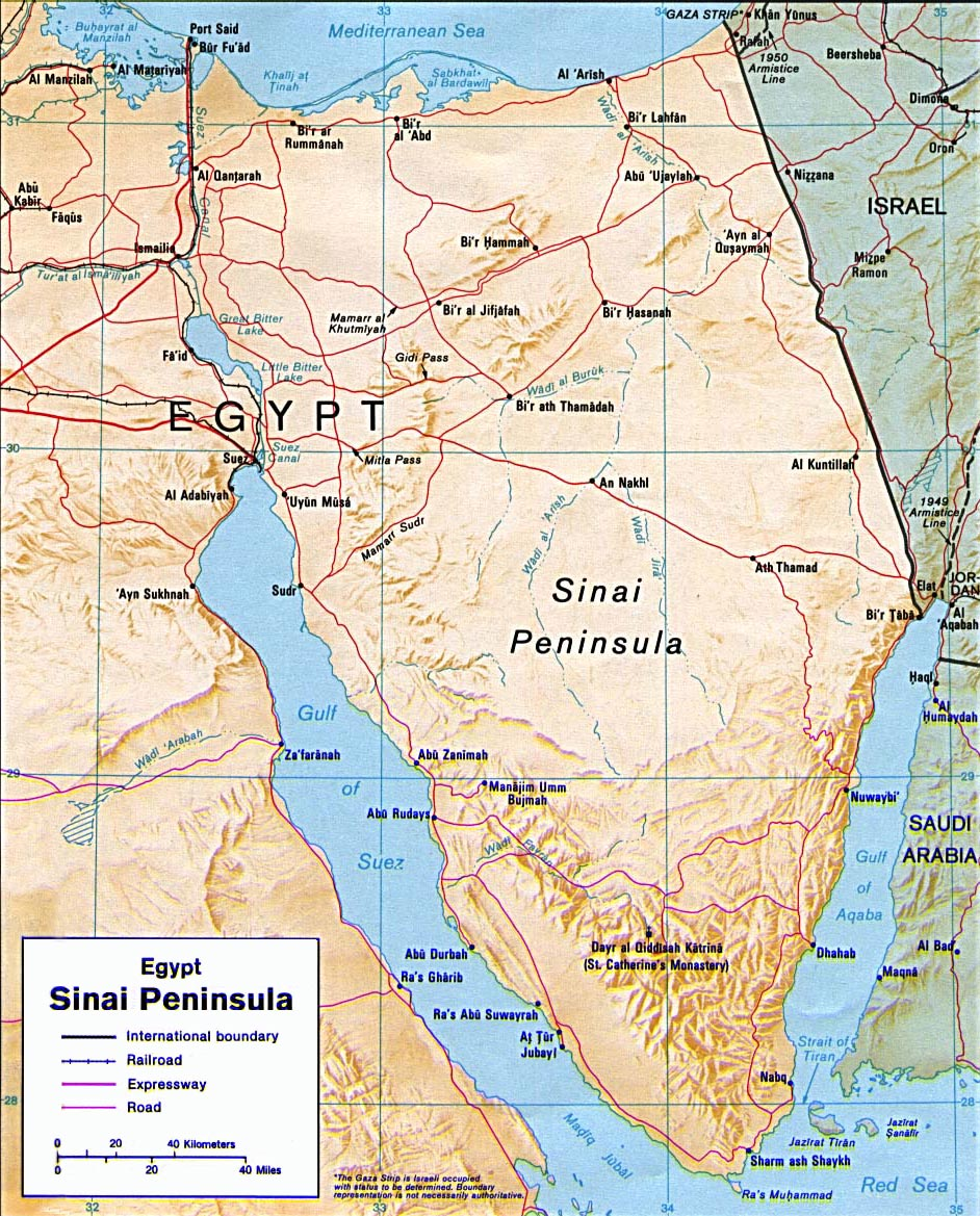 Map Of Sinai Peninsula Egypt Travel - What country is egypt in