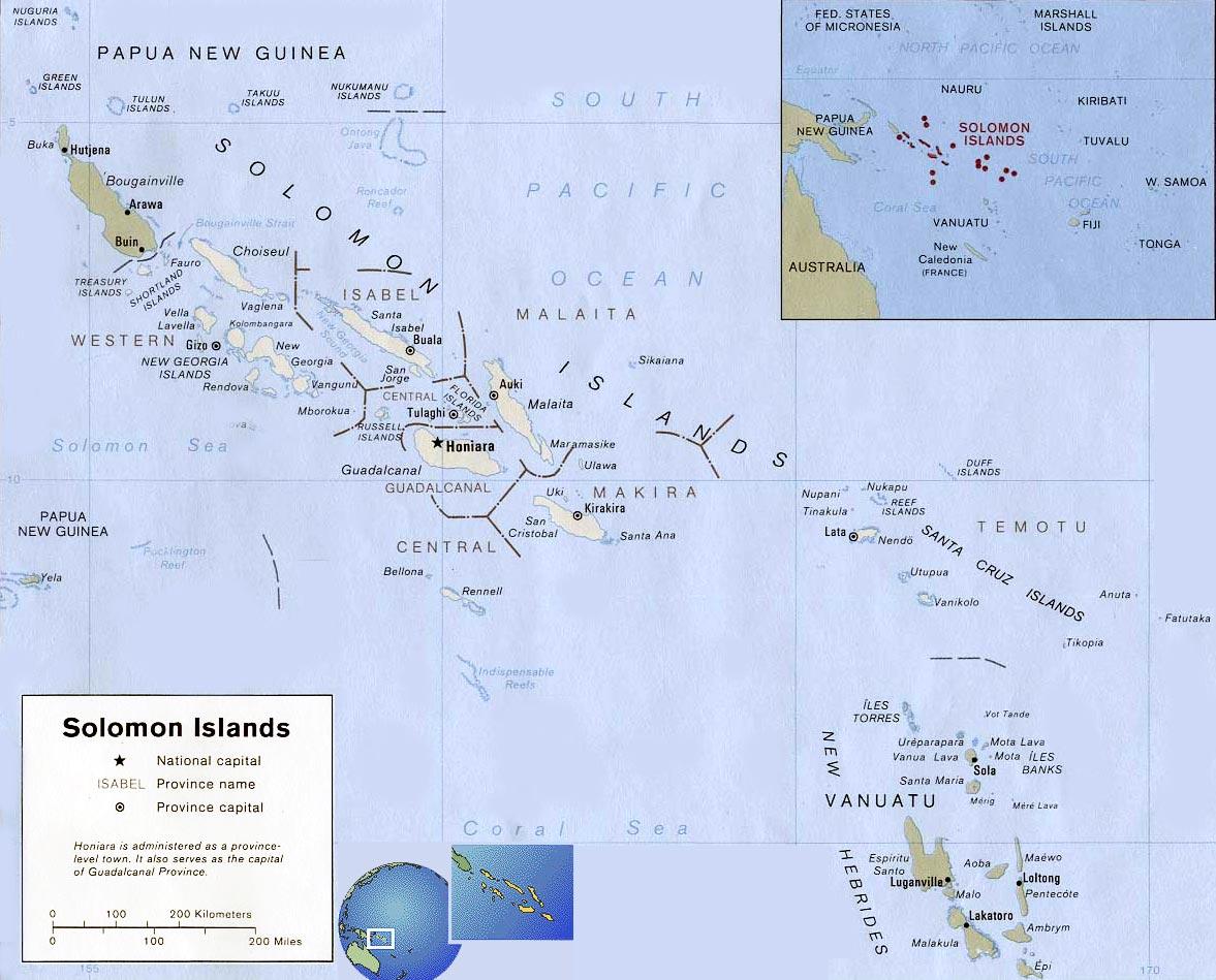 Map Solomon Islands Honiara