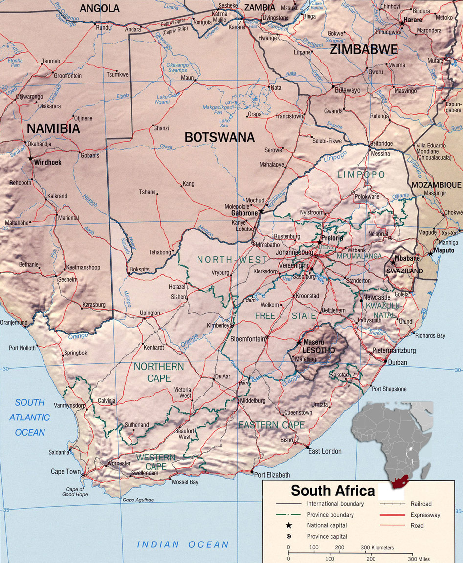 south africa map botswana