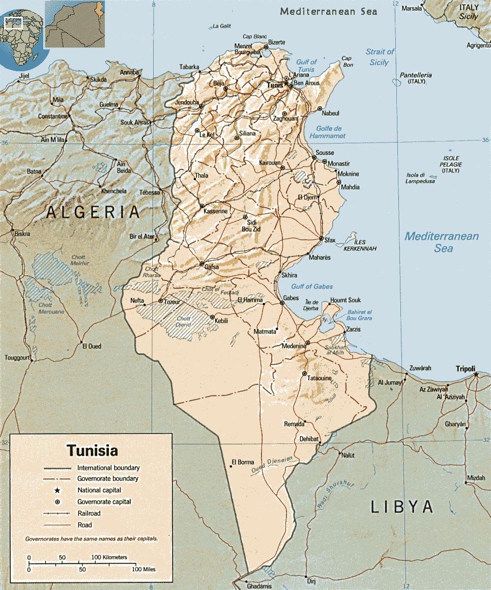 Map of Tunisia - Mediterranean Coast - Travel Africa